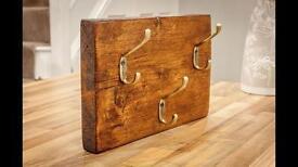 Small reclaimed timber coat hook rack
