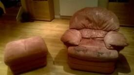 Reclining Sofa, Armchair and Footstool
