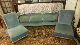 4 seater sprung sofa and 2 chairs