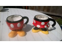 Disney collectable Mickey and Minnie Mugs