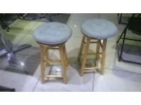 Pair of solid wood stools with cushions central London bargain
