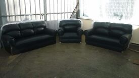Leather 3 piece suite colour black Brand new and unused, sofa's, armchair, can deliver if required.