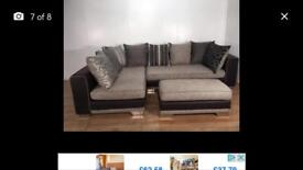 Grey corner sofa with armchair and puffee