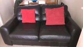 3 + 2 brown real Italian leather sofas.