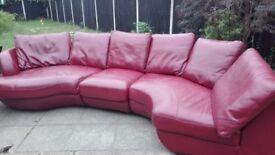 Dark red corner sofa