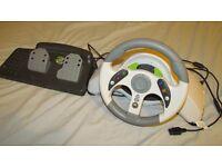 Madcatz xbox 360 & PC racing wheel with pedals.