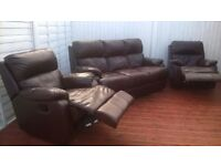 Dfs Leather 3 piece suite, sofas, reclining armchairs, excellent condition, can deliver.