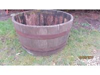 HALF WOODEN BARREL IDEAL FOR PLANTS