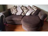 DFS chocolate brown Italian leather sofa