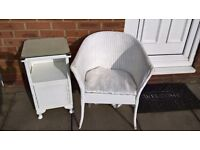 Vintage/Shabby Chic Chair and Cabinet . Basket Weave Lloyd Loom Style
