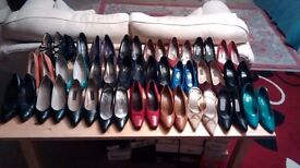 Ladies Shoes: 25 Different Pairs. Vintage-Modern-Heels-Court-Leather-Suede-Black/Coloured