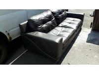 Black leather sofa set