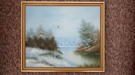 Country lake view in winter, on canvas