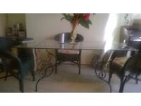 Glas Dinning Table with 2 Wall Tables / can be used for extension