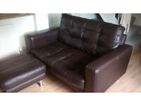 DFS Real Leather Sofa With Foot Stool - Dark Brown - Compact