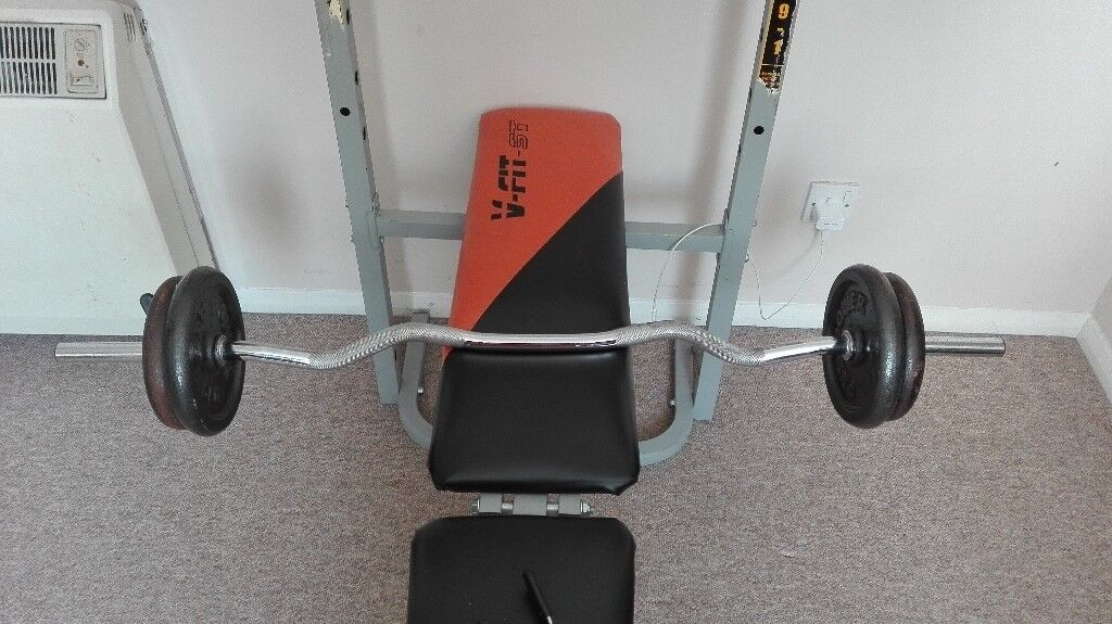 £150 1 bench (incline and flat benching) foldable, 110kg weights, 2 straight bars, 1 arm bar