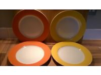 'Butlers' brand white dinner plates with colourful border (4)