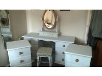 gorgeous painted solid pine dressing table / desk 2 bedside cabinets, matching mirror and stool