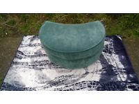 A New Teal Fabric Material Half-moon Footstool.