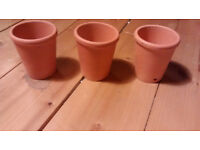 Set of Three 3 Mini Miniature Terracotta Plant Pots Small Tiny Succulent Cactus Cacti Pots