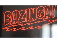 BAZINGA BIG BANG THEORY RED NEON SIGN WALL ART PLAQUE FRAME HANGING LIGHT LIGHTING GLOW SHELDON