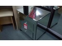 Mirrored 3 drawer bedside, slight second, ex display