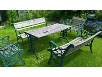 garden benches, chairs and table set