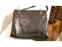 Genuine black Chanel lamb skin shoulder bag