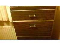 Very large self assembly 2 wardrobe bedroom unit with 4 drawers and two matching bedside cabinets.