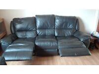 3+2+1 black leather sofas