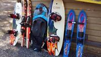 Assorted skis, and board's
