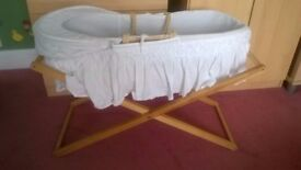 Traditional moses basket and stand
