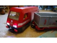 Playmobil 4010 Cargo train with track, lights and remote control