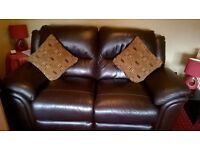 Dark Brown Leather Recliner Sofa, Ex Sterling Furniture, opens up to double bed size