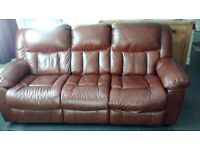 FREE - 3 Seater Faux Leather Recliner Sofa