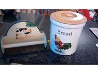 Bread bin and kitchen roll holder