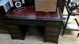 Antique leather top Writing desk