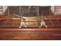 Antique Fire Place Set solid brass 3 pieces with stands. Poker, Shovel and Tongs.