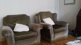 one or two green comfortable arm chairs, large and comfy £ 10.00