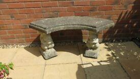 Cast Stone Squirrel Bench.