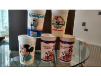 Plastic disney cups.