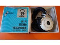 ORIGINAL BOXED VINTAGE HEADPHONES RETRO WHITE / CHROME PRISTINE JAPANESE 1970'S