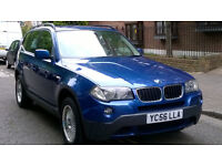 BMW X3 2.0 D SE DIESEL 2006 56 REG MET BLUE / LEATHER 6 SPEED MANUAL PAS A/C 159K MILES SUPERB PRICE