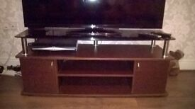 TV stand with tempered glass top and 2 door cabinet