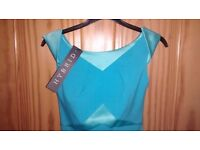 Hybrid designer elegant dress aqua blue satin new size 6. With tags. £30