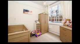 Cotbed/Toddlerbed, wardrobe, changing table, chest of drawers