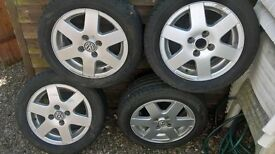 Volkswagen polo alloys with tyres