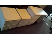 2 White bedside cabinets and dressing table