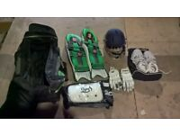 CRICKET - Full Cricket Kit, Helmet, Pads, Shoes, Gloves, Protector Complete With Cricket Bag