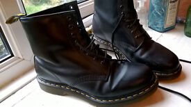 Black leather Doc Martens boots